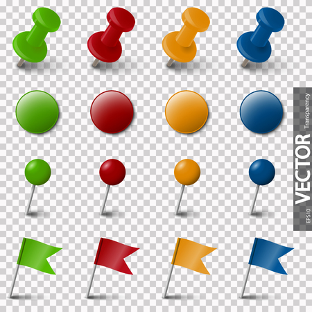 collection of different pin needle office supplies in various colors with vector transparency
