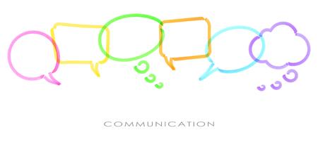 illustrazione di fumetti colorati in fila disegnati con un evidenziatore che simboleggia la comunicazione