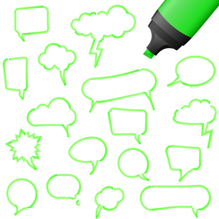 illustration of speech bubbles drawn with highlighter colored green