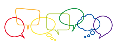 illustration of colored speech bubbles frames in a row with space for text