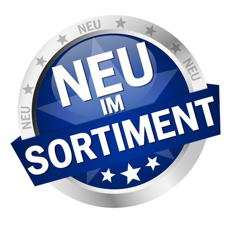 round colored button with banner and text New Releases (in german)