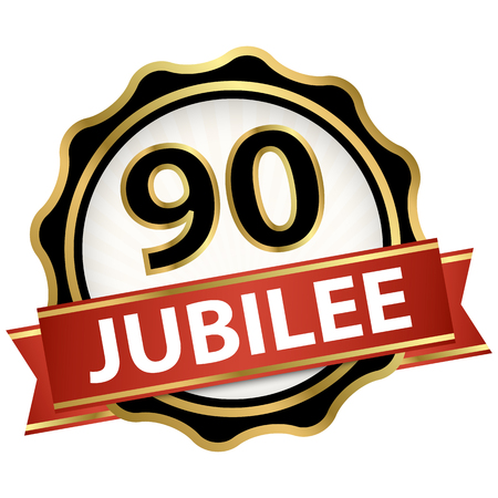 round jubilee button with red banner for marketing use for 90 years