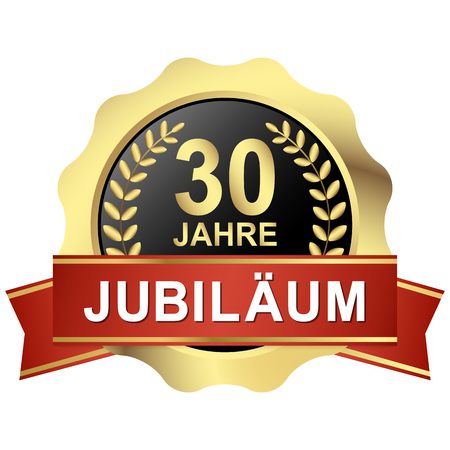 gold button with red banner for 30 years jubilee (text in german)