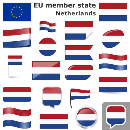 collection of flags and buttons with national country colors of the Netherlands Illustration