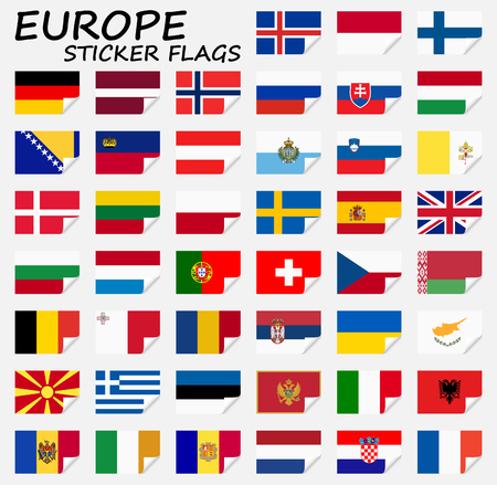 collection of flags from all national countries of Europe