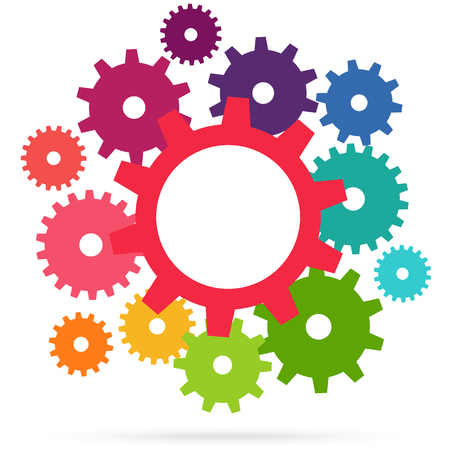 illustration of colored gears symbolizing cooperation or teamwork process Ilustração