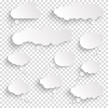 illustration of speech bubbles with shadow looking like stickers with transparency in vector file Иллюстрация