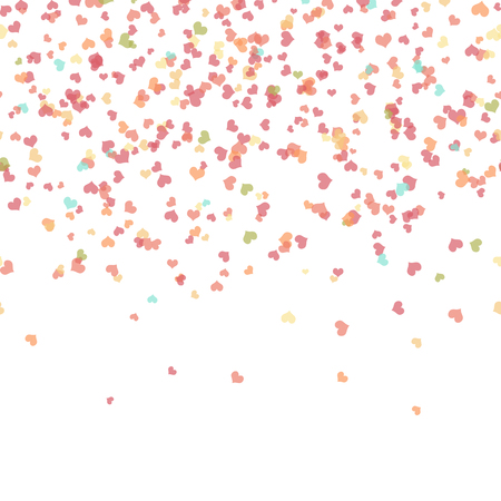 seamless background with different colored confetti hearts for valentine time Ilustração
