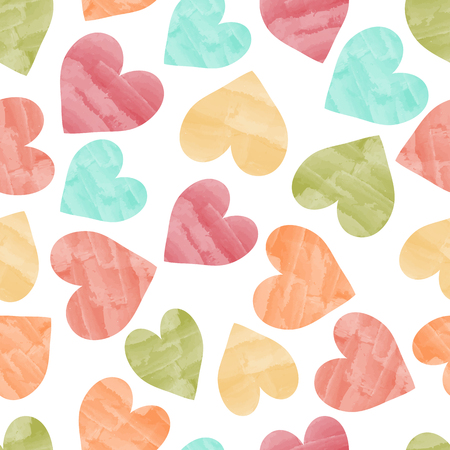 seamless pretty background with hearts and details in fine watercolor colors