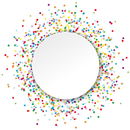 colored confetti behind empty round frame for party or carnival greetings on white background 일러스트