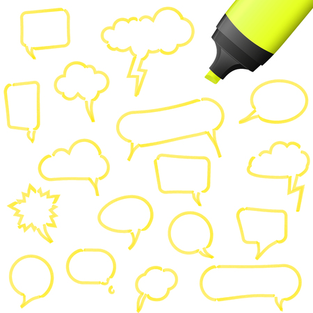 illustration of speech bubbles drawn with highlighter colored yellow