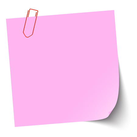 vector illustration of colored sticky note with paper clip