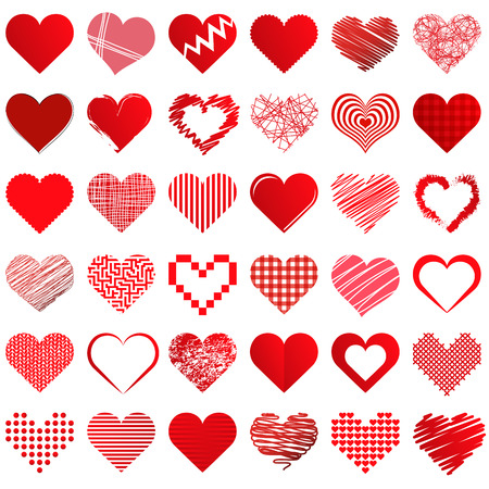 collection of different beautiful hearts for valentine love time or mothers day