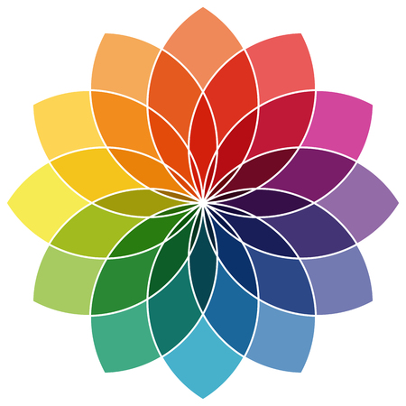 vector illustration of printing color wheel with twelve colors in gradations