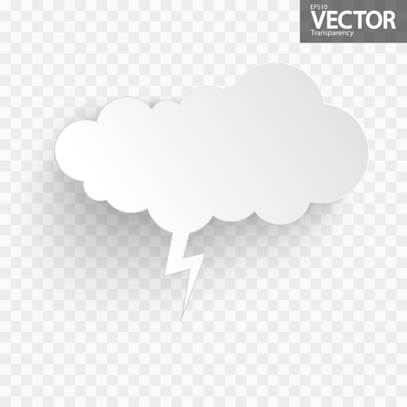 illustration of speech bubble with shadow looking like sticker with transparency in vector file