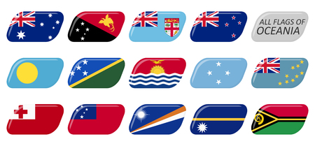 collection of flags from all national countries of Oceania and Australia