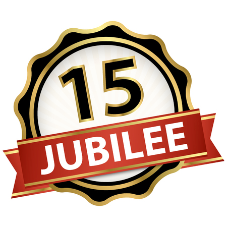round jubilee button with red banner for marketing use for 15 years Illusztráció