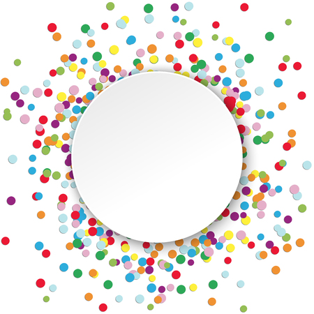 colored confetti behind empty round frame for party or carnival greetings on white background Illustration