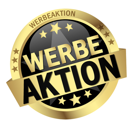 round colored button with banner and text Werbeaktion