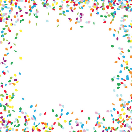 vector illustration background with different colored confetti with free middle for birthday greetings
