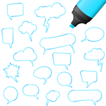 illustration of speech bubbles drawn with highlighter colored blue