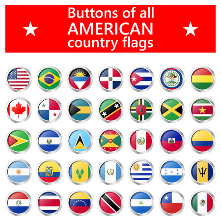 collection of flags from all national countries of America