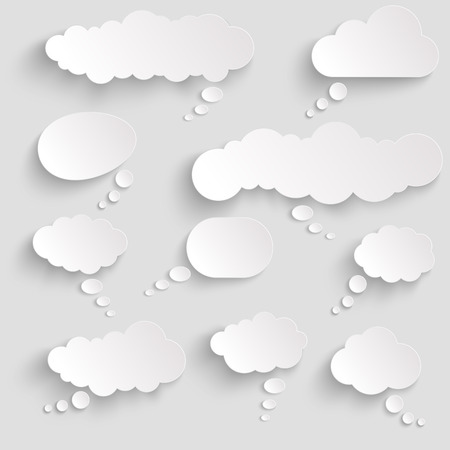 illustration of thought bubbles with shadow looking like stickers