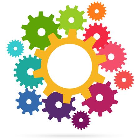 illustratie van gekleurde tandwielen die het samenwerkings- of teamwerkproces symboliseren Vector Illustratie