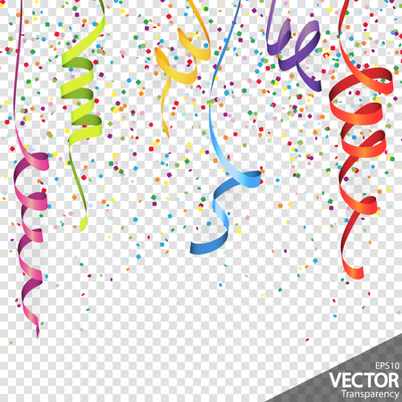 illustration of colored confetti and streamers background for party or carnival usage with transparency in vector file