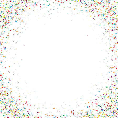 vector illustration of multi colored confetti corners with free middle for carneval or party time on white background