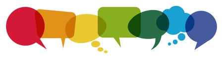 illustratie van gekleurde tekstballonnen op een rij met ruimte voor tekst Vector Illustratie