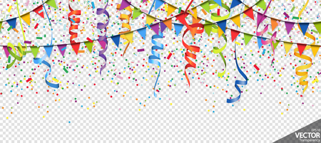 illustration of seamless colored confetti, garlands and streamers background for party or carnival usage with transparency in vector file