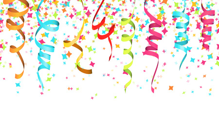 vector illustration of seamless colored confetti and streamers on white background for party or carnival usage Ilustração
