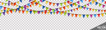 illustration of seamless colored garlands background for party or carnival usage with transparency in vector file Standard-Bild - 117797361