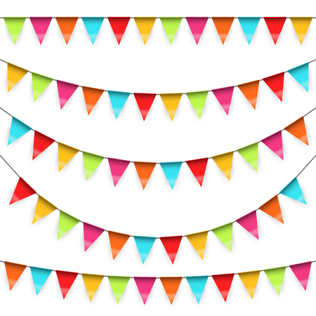 vector illustration of swung hanging garlands in five different variations on white background