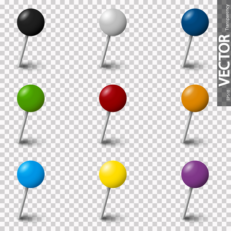 collection of colored pin needles with shadow with vector transparency