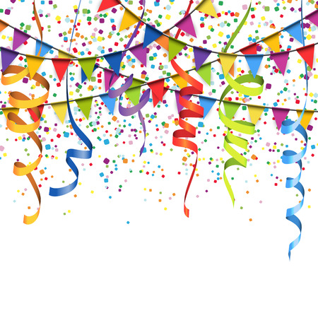 vector illustration of colored confetti, garlands and streamers on white background for party or carnival usage  イラスト・ベクター素材