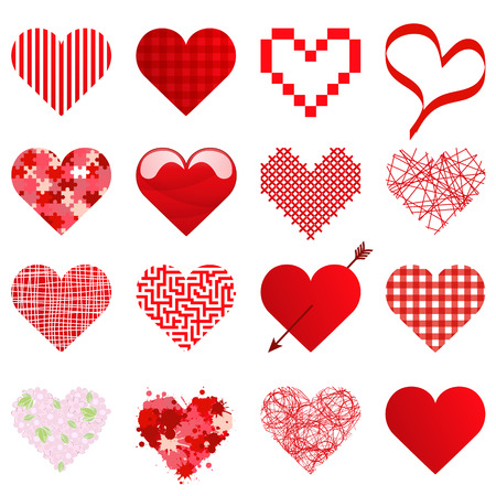 collection of different beautiful hearts for valentine love time or mothers day Standard-Bild - 117797384