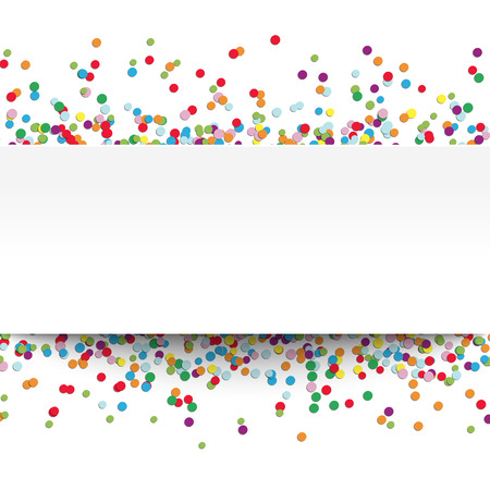 vector illustration of multi colored confetti with free white banner for text for carneval or party time on white background Illustration