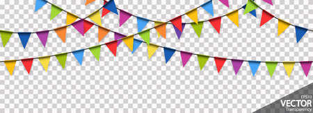 illustration of seamless colored garlands background for party or carnival usage with transparency in vector file Standard-Bild - 117797386