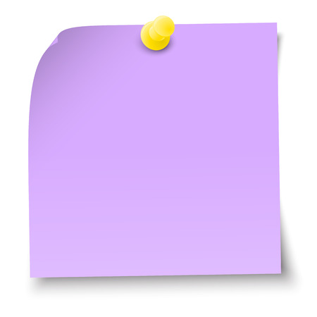 vector illustration of colored sticky note with pin needle Illustration