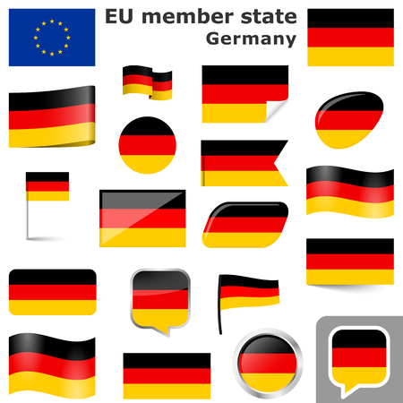collection of flags and buttons with national country colors of Germany Stock Illustratie