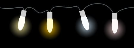 vector illustration of seamless light bulbs string with different colors isolated on black background Illustration