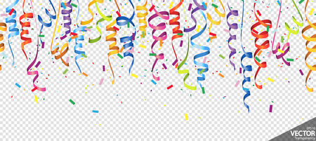 illustration of seamless colored confetti and streamers background for party or carnival usage with transparency in vector file Standard-Bild - 117797387