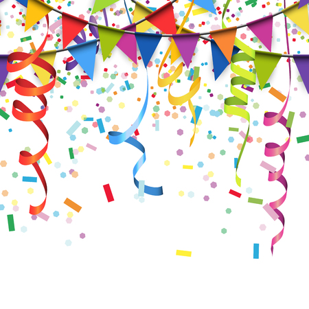 vector illustration of colored confetti, garlands and streamers on white background for party or carnival usage Ilustração