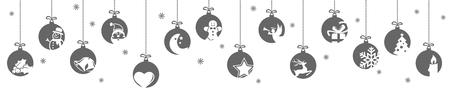 Sammlung hängender Kugeln in Schwarz mit verschiedenen abstrakten Symbolen für Weihnachts- und Winterzeitkonzepte Vektorgrafik