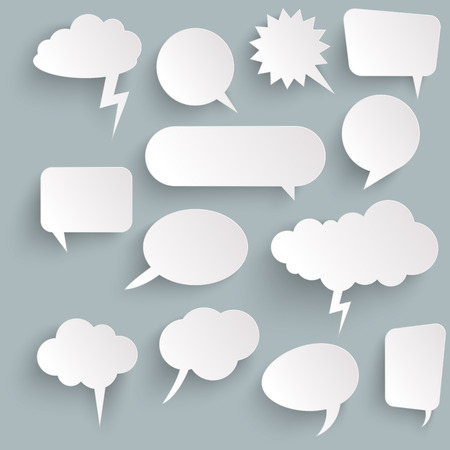 illustration of speech bubbles with shadow looking like stickers Stock Vector - 124896594