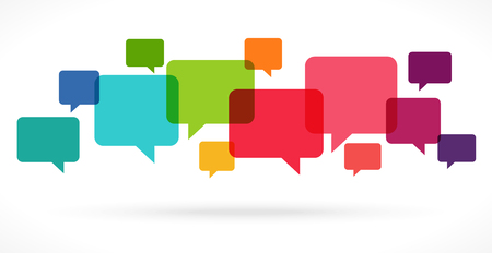 illustration of colored speech bubbles in a row with space for text Standard-Bild - 117797389
