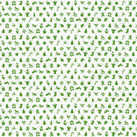 seamless christmas background colored green consists of typical christmas icons like santa claus, candle, snowfalke, tree, gingerbread man, stars Illustration