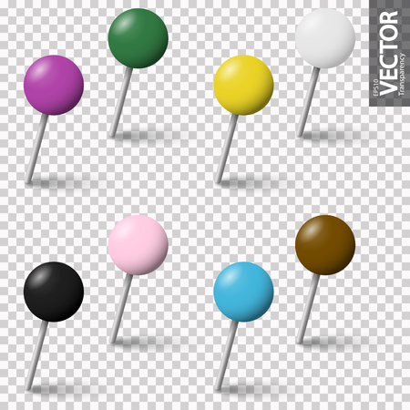 collection of colored pin needles with shadow with vector transparency Banque d'images - 124896598